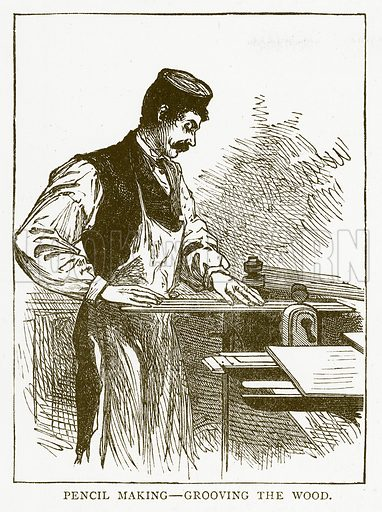 Pencil Making – Grooving the Wood. Illustration for Aunt Louisa's Book of Common Things by L Valentine (Frederick Warne, c 1880).