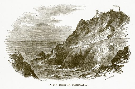 A Tin Mine in Cornwall. Illustration for Aunt Louisa's Book of Common Things by L Valentine (Frederick Warne, c 1880).