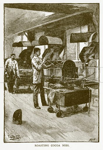 Roasting Cocoa Nibs. Illustration for Aunt Louisa's Book of Common Things by L Valentine (Frederick Warne, c 1880).
