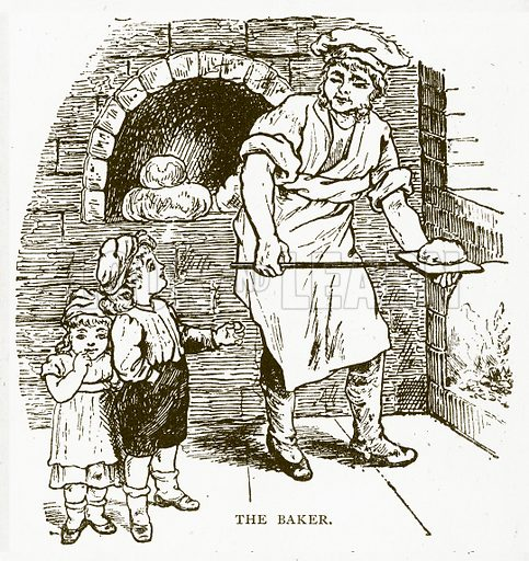 The Baker. Illustration for Aunt Louisa's Book of Common Things by L Valentine (Frederick Warne, c 1880).