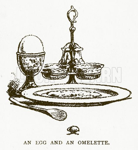 An Egg and an Omelette. Illustration for Aunt Louisa's Book of Common Things by L Valentine (Frederick Warne, c 1880).