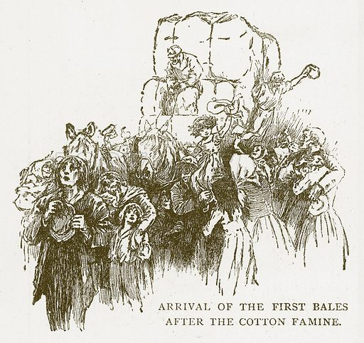 Arrival of the First Bales after the Cotton Famine. Illustration for Aunt Louisa's Book of Common Things by L Valentine (Frederick Warne, c 1880).