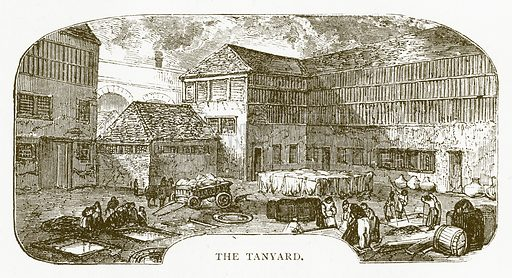 The Tanyard. Illustration for Aunt Louisa's Book of Common Things by L Valentine (Frederick Warne, c 1880).