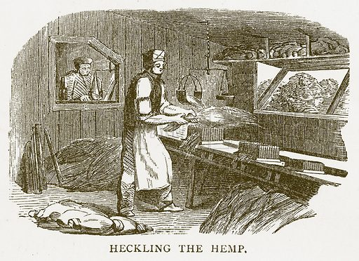 Heckling the Hemp. Illustration for Aunt Louisa's Book of Common Things by L Valentine (Frederick Warne, c 1880).