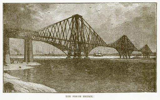 The Forth Bridge. Illustration for Aunt Louisa's Book of Common Things by L Valentine (Frederick Warne, c 1880).