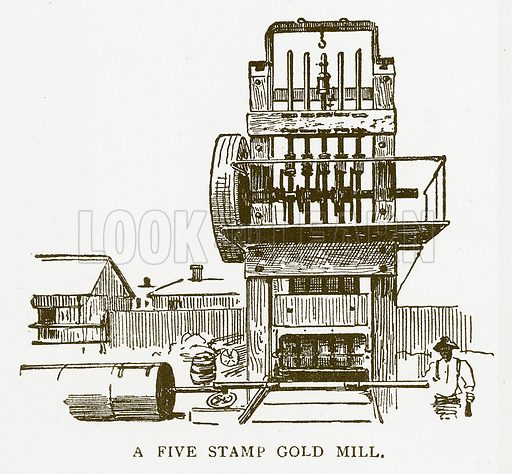 A Five Stamp Gold Mill. Illustration for Aunt Louisa's Book of Common Things by L Valentine (Frederick Warne, c 1880).