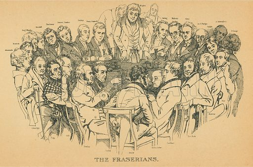 The Fraserians. Illustration for The Maclise Portrait Gallery of Illustrious Literary Characters by William Bates (Chatto and Windus, 1896).