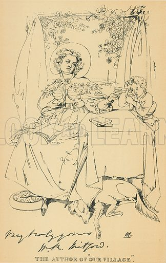 Mary Russell Mitford. Illustration for The Maclise Portrait Gallery of Illustrious Literary Characters by William Bates (Chatto and Windus, 1896).