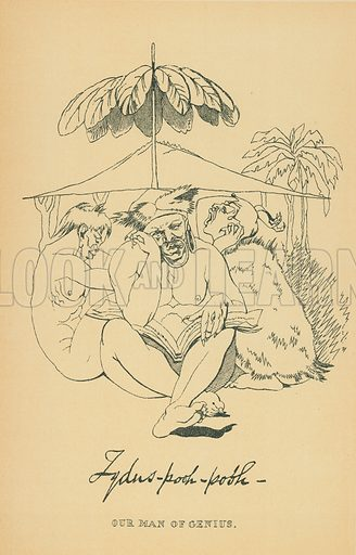 Tydus-Pooh-Pooh. Illustration for The Maclise Portrait Gallery of Illustrious Literary Characters by William Bates (Chatto and Windus, 1896).