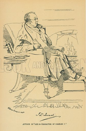 Isaac D'Israeli. Illustration for The Maclise Portrait Gallery of Illustrious Literary Characters by William Bates (Chatto and Windus, 1896).