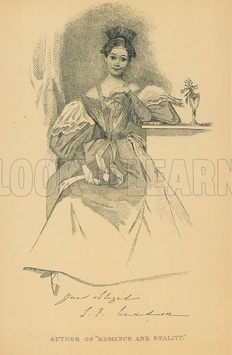 Miss Landon. Illustration for The Maclise Portrait Gallery of Illustrious Literary Characters by William Bates (Chatto and Windus, 1896).