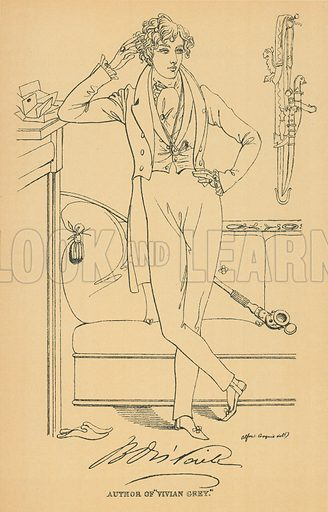 Benjamin Disraeli. Illustration for The Maclise Portrait Gallery of Illustrious Literary Characters by William Bates (Chatto and Windus, 1896).