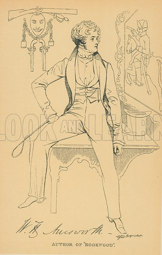 William Harrison Ainsworth. Illustration for The Maclise Portrait Gallery of Illustrious Literary Characters by William Bates (Chatto and Windus, 1896).