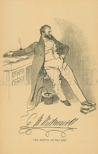 Charels Malloy Westmacott. Illustration for The Maclise Portrait Gallery of Illustrious Literary Characters by William Bates (Chatto and Windus, 1896).