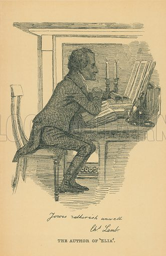 Charles Lamb. Illustration for The Maclise Portrait Gallery of Illustrious Literary Characters by William Bates (Chatto and Windus, 1896).