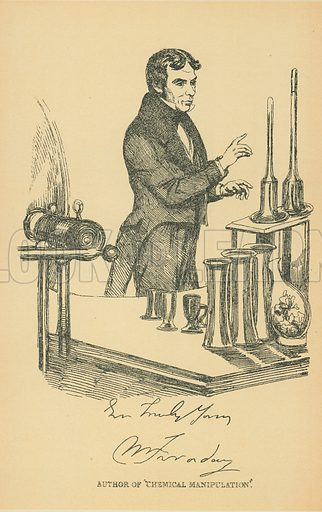 Michael Faraday. Illustration for The Maclise Portrait Gallery of Illustrious Literary Characters by William Bates (Chatto and Windus, 1896).