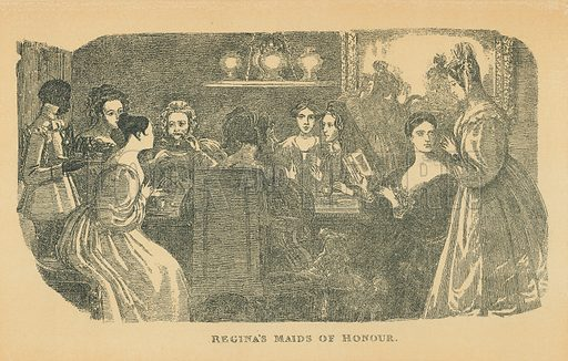 Regina's Maids of Honour. Illustration for The Maclise Portrait Gallery of Illustrious Literary Characters by William Bates (Chatto and Windus, 1896).