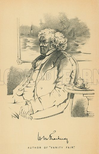 William Makepeace Thackeray. Illustration for The Maclise Portrait Gallery of Illustrious Literary Characters by William Bates (Chatto and Windus, 1896).