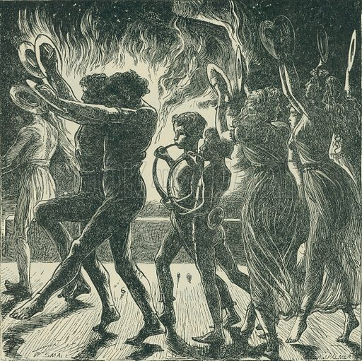 In Dismal Dance about the Furnace Blue. Milton's Hymn on Christ's Nativity. From Illustrators of the Sixties by Forrest Reid (Faber, 1928).