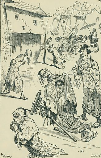 Laputa – The People in the Street. Gulliver's Travels. From Illustrators of the Sixties by Forrest Reid (Faber, 1928).