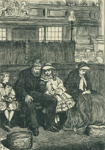 Philip in Church. The Cornhill Magazine, 1862. From Illustrators of the Sixties by Forrest Reid (Faber, 1928).