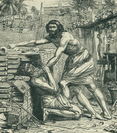 Moses Slaying the Egyptian. Dalziel's Bible Gallery. From Illustrators of the Sixties by Forrest Reid (Faber, 1928).