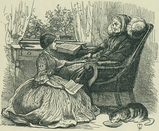 The Grandmother's Apology. Once a Week, 1859. From Illustrators of the Sixties by Forrest Reid (Faber, 1928).