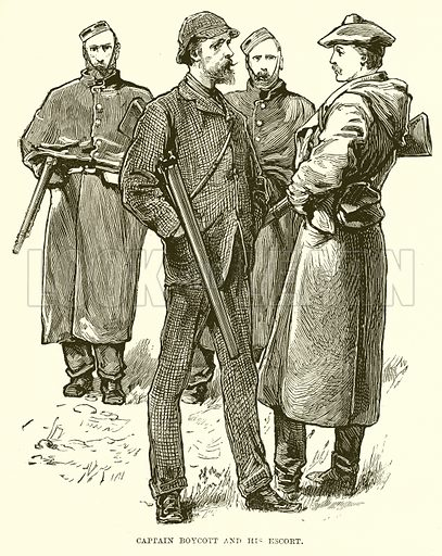 Captain Boycott and his Escort. Illustration for The Life and Times of The Marquis of Salisbury by SH Jeyes (Virtue, c 1895).