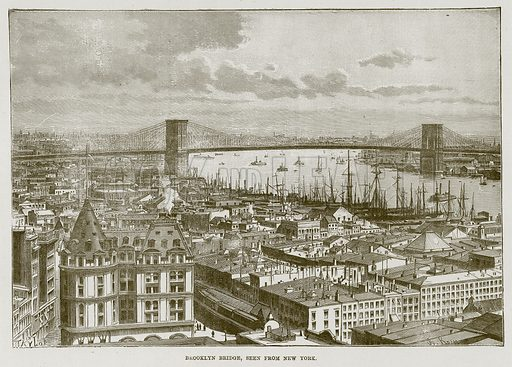 Brooklyn Bridge, seen from New York. Illustration for The Life and Times of The Marquis of Salisbury by S H Jeyes (Virtue, c 1895).