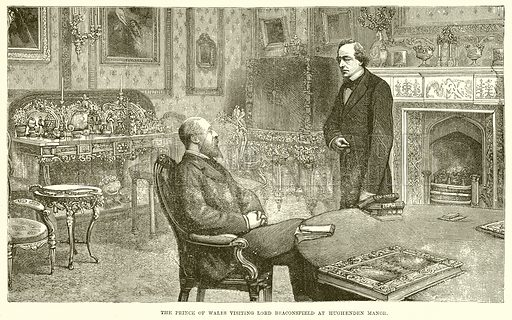 The Prince of Wales visiting Lord Beaconsfield at Hughenden Manor. Illustration for The Life and Times of The Marquis of Salisbury by SH Jeyes (Virtue, c 1895).
