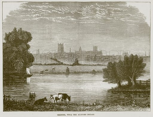 Chester, from the Aldford Bridge. Illustration for The Life and Times of The Marquis of Salisbury by SH Jeyes (Virtue, c 1895).