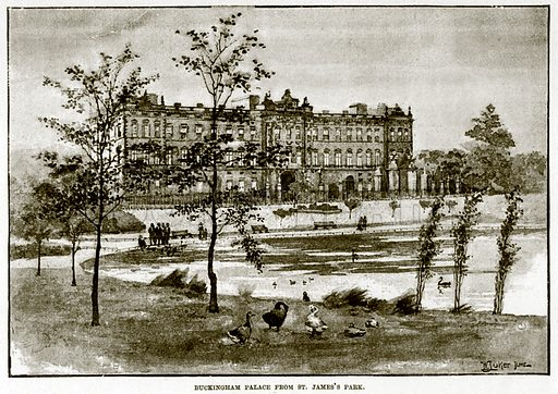 Buckingham Palace from St. James's Park. Illustration for The Life and Times of The Marquis of Salisbury by S H Jeyes (Virtue, c 1895).