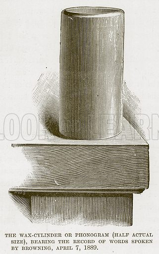 The Wax-Cylinder or Phonogram (Half Actual Size), Bearing the Record of Words Spoken by Browning, April 7, 1889. Illustration for My Book of Inventions (Edward Arnold, c 1890).