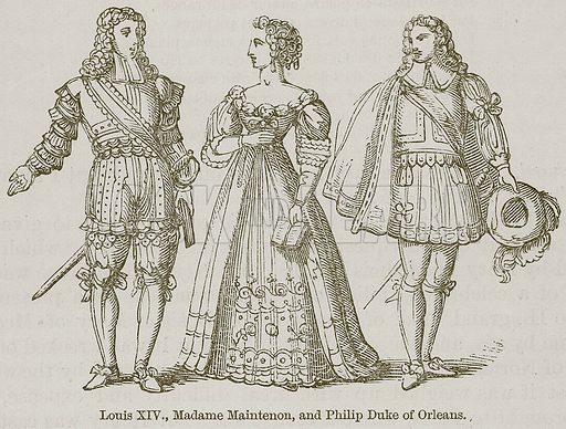 Louis XIV, Madame Maintenon, and Philip Duke of Orleans. Illustration for A History of France by Mrs Markham (John Murray, 1867).