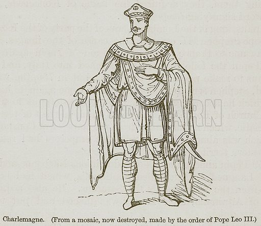 Charlemagne. Illustration for A History of France by Mrs Markham (John Murray, 1867).