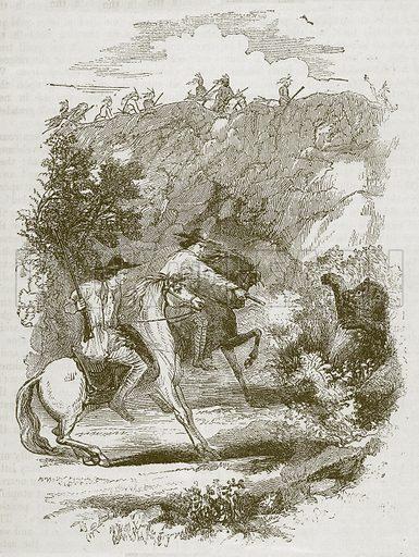 A Bear Hunt. Illustration for The Boy's Own Magazine (Beeton, c 1865).