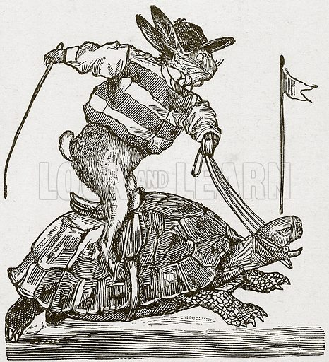 The Hare and the Tortoise.  Nineteenth century comic picture reprinted in an edition of Cole's Funny Picture Book.
