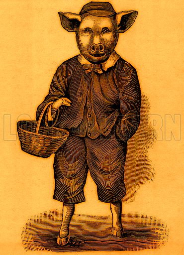 Piggy going to market.  Nineteenth century comic picture reprinted in an edition of Cole's Funny Picture Book.