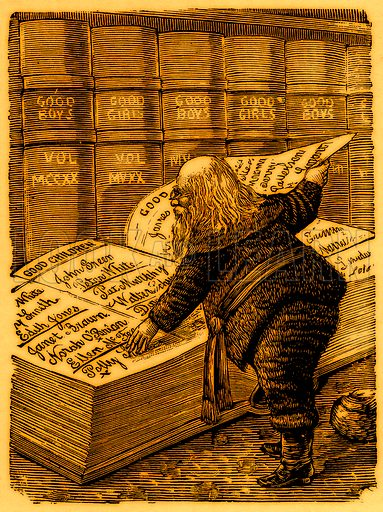 Santa Claus looking in his diary for the names of children who have been good since last Christmas. Nineteenth century comic picture reprinted in an edition of Cole's Funny Picture Book.