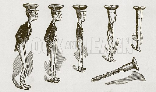 The boy who became a screw. Nineteenth century comic picture reprinted in an edition of Cole's Funny Picture Book.
