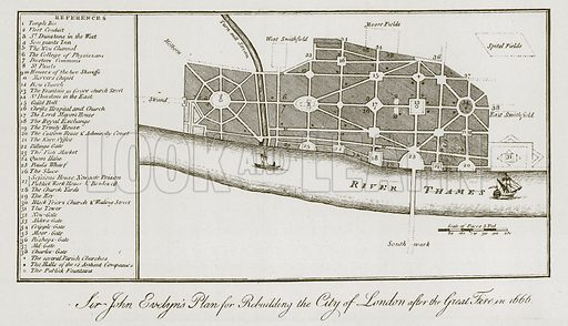 Sir John Evelyn's Plan for Rebuilding the City of London. Illustration for London in the time of the Stuarts by Sir Walter Besant (A & C Black, 1903).