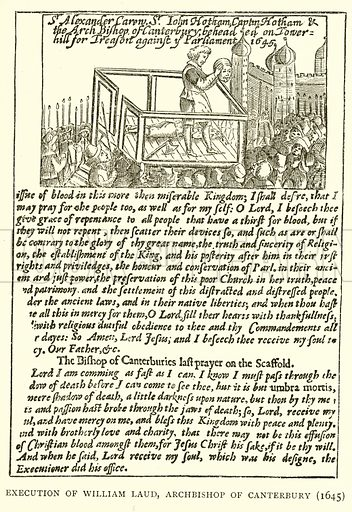 Execution of William Laud, Archbishop of Canterbury (1645). Illustration for London in the time of the Stuarts by Sir Walter Besant (A & C Black, 1903).