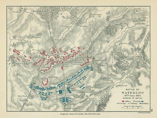 Battle of Waterloo. Illustration for A School Atlas of English History by SR Gardiner (Longmans, 1899).