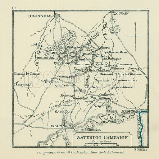 Waterloo Campaign. Illustration for A School Atlas of English History by SR Gardiner (Longmans, 1899).