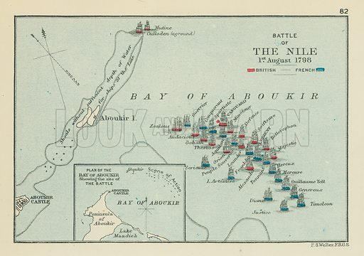 Battle of the Nile. Illustration for A School Atlas of English History by SR Gardiner (Longmans, 1899).