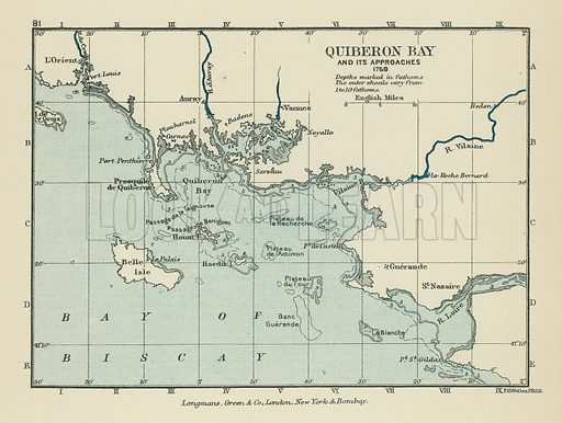 Quiberon Bay and its Approaches. Illustration for A School Atlas of English History by SR Gardiner (Longmans, 1899).