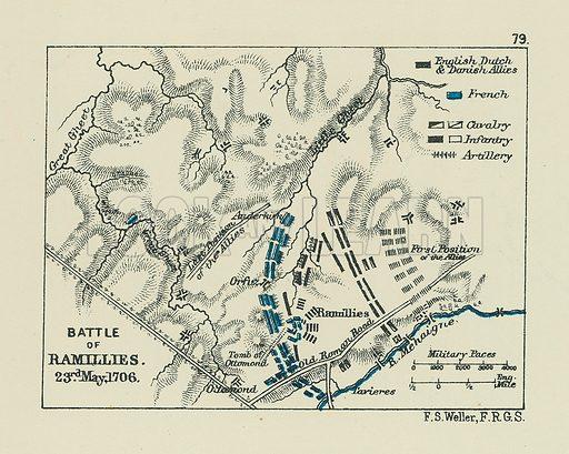 Battle of Ramillies. Illustration for A School Atlas of English History by SR Gardiner (Longmans, 1899).