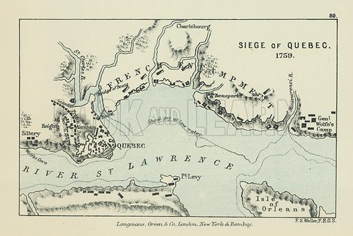 Siege of Quebec. Illustration for A School Atlas of English History by SR Gardiner (Longmans, 1899).