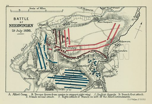 Battle of Neerwinden. A Allied Camp. B Troops drawn from Centre to Support Right Wing. C English Guards. D French First Attach. E French Second Attack. F Right Attack of French on left of the Allied Intrenchments. Illustration for A School Atlas of English History by SR Gardiner (Longmans, 1899).