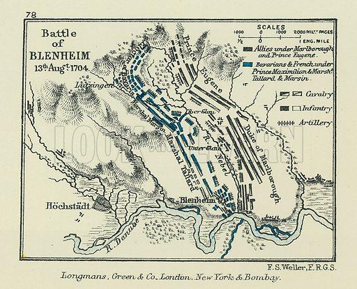 Battle of Blenheim. Illustration for A School Atlas of English History by SR Gardiner (Longmans, 1899).